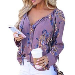 Tops - Lavender Floral V Neck Long Sleeve Blouse